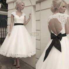 Custom Removable Bow Sash Cap Sleeve Short Tea Length Lace Wedding Dress Gown