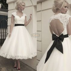 Custom Removable Bow Sash Cap Sleeve Short Tea Length Lace Wedding Dress Gown