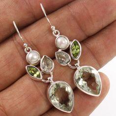 925 Sterling Silver Earrings Natural PEARL, PERIDOT & GREEN AMETHYST Gemstones #Unbranded #DropDangle