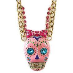 NEW! BETSEY JOHNSON Jewelry CRITTER STATEMENT Pink Sugar Skull Ornate Necklace