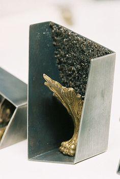 Eva Tesarik Brooch: T.b.a.t.b, 2008 Silver, brass, fluorite powder 6 x 3 cm from the serie: The beauty and the beast