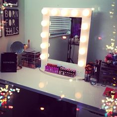 Nicole Guerriero's vanity I love this and need this for my bedroom and for all my makeup.