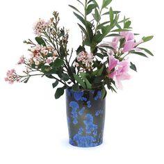 Crystal Glazed Ceramic Vase, Utensil Organiser, Wine Cooler, Pottery Ice Bucket with Deep Blue Crystals Glazed Ceramic, Ceramic Vase, Glazes For Pottery, Glazed Pottery, Garlic Jar, Yarn Bowl, Cremation Urns, Utensil Holder, Gray Background