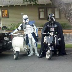 Darth Vader and a Republic Clone Trooper with their Vespa Scooters. | Star Wars