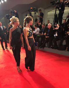 """Actress Giorgia Marin (L) and actress Ludovica Coscione arrive for the premiere of """"Brimstone"""" presented in competition at the 73rd Venice Film Festival on September 3, 2016 at Venice Lido."""