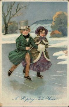 New Year – Victorian Children Ice Skating c1910 Postcard