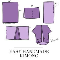 "Besides the fact that this ""kimono"" and real japanese kimono both are made out of rectangle fabric, the ""kimono"" shown here actually has nothing to do with a real kimono. So, why call it a kimono? Diy Clothing, Sewing Clothes, Clothing Patterns, Sewing Patterns, Kimono Diy, Kimono Tutorial, Diy Clothes Kimono, Diy Tutorial, Sewing Hacks"