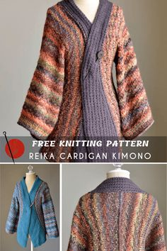 Sweater Knitting Patterns, Knitting Stitches, Free Knitting, Knitting Ideas, Knitting Projects, Kimono Pattern Free, Free Pattern, Cardigan Design, Big Knits