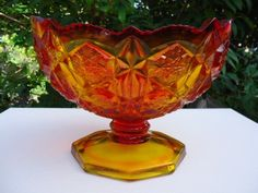 Orange Amberina Glass Compote 1950's Vintage by CrochetNCollectibles on Etsy https://www.etsy.com/listing/288030963/orange-amberina-glass-compote-1950s