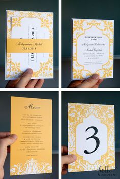 Fiona wedding invitation set  sunflower yellow