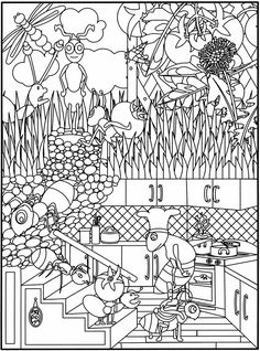"coloring pages for children, by Dover Publications __ ""Garden Party!: Flower Designs to Color"""