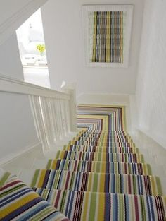 Stylish stair carpet ideas and inspiration. So you can choose the best carpet for stairs.Quality rug for stairs, stairway carpets type, etc. Striped Carpets, Patterned Carpet, White Carpet, Yellow Carpet, Neutral Carpet, Striped Rug, Staircase Runner, Escalier Design, Stair Landing