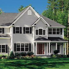 Simple Porch Columns No Railings Keystone Window Trim Black Shutters