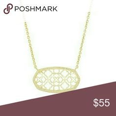 """Kendra Scott 14k Gold Necklace Delicate necklace with an openwork pendant. Perfect for layering or to be worn alone. - 16"""" length; 2"""" extender; 1/2""""W x 1""""L pendant. - Lobster clasp closure. - 14k-yellow gold plated.    Brand new! No trades. Kendra Scott Jewelry Necklaces"""
