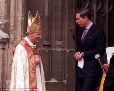 Friends: Prince Charles is pictured here with the former Bishop of Lewes and Gloucester Peter Ball in 1992