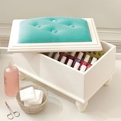 CUTE IDEA!! Easy to DIY, use unfinished wood box from craft store Velvet Mani/Pedi Pedastool | PBteen