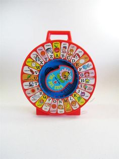 Mattel's classic See 'n Say toy.  Had one of these... worked great, until Bekah came along and the letters were off.  Then it was just confusing.