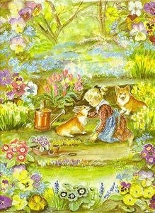 """Spring,"" Victoria Magazine (1996) - Tasha Tudor  - I have this Tasha Tudor artwork hanging on my wall!"