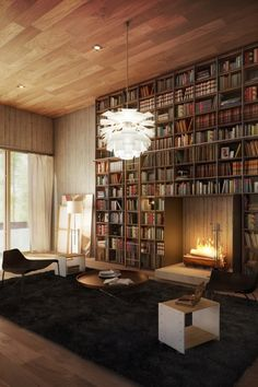 Amazing library with fireplace.