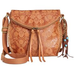The Sak Silverlake Embossed Crossbody ($112) ❤ liked on Polyvore featuring bags, handbags, shoulder bags, tobacco floral emboss, the sak handbags, leather crossbody, red leather handbags, the sak crossbody and leather crossbody purse