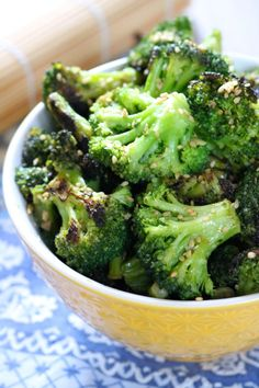 Sesame Ginger Broccoli | Paleo and vegan friendly broccoli sautéed with coconut aminos, garlic, and ginger then garnished with sesame seeds. Serve as a side or with meat for a meal. | eatsomethingdelicious.com