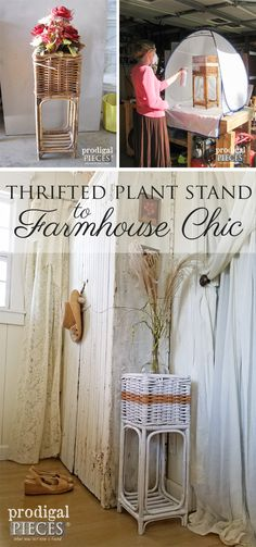 Thrifted Plant Stand Gets Farmhouse Chic Makeover by Prodigal Pieces   www.prodigalpieces.com