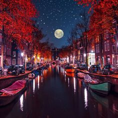 All Art: Night in Amsterdam - The Moon glimmers on a starry night in Amsterdam...