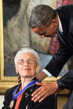 President Barack Obama and  Katherine Johnson