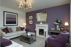 This living room has a colour scheme of beautiful heather tones which carries th. - This living room has a colour scheme of beautiful heather tones which carries th. Lilac Living Rooms, Living Room Grey, Living Room Sofa, Home Living Room, Living Room Decor, Purple Bedrooms, Living Room Color Schemes, Living Room Designs, Feature Wall Living Room