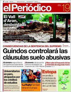 Los Titulares y Portadas de Noticias Destacadas Españolas del 19 de Junio de 2013 del Diario El Periódico ¿Que le parecio esta Portada de este Diario Español?