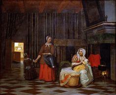 Питер де Хох - Комната с кормящей матерью, ребенком и служанкой