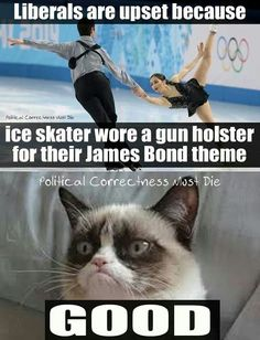 Grumpy Cat and Liberals offended winter olympics ice skater wore a gun holster. Political Correctness. Liberal. Humor. Gun Rights.