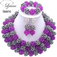 Fashion traditional nigerian wedding african beads jewelry set crystal purple silver costume necklaces ABD828