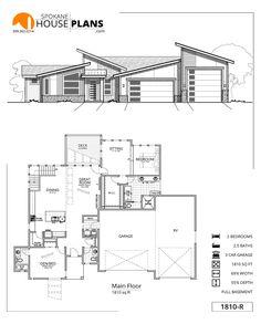 1810-R | Spokane House Plans Mini House Plans, Metal House Plans, Model House Plan, Small House Floor Plans, Home Design Floor Plans, Garage House Plans, Best House Plans, Craftsman House Plans, House Roof Design