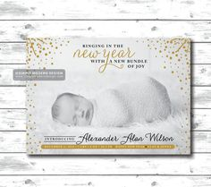 Birth announcement holiday new years new by SimplyModernDesignCo