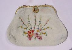 French-Hand-Made-Enamel-Closure-Glass-Beaded-Embroidered-Purse-Evening-Bag