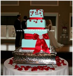Tiffany blue cake with red ribbon