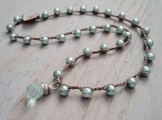 RESERVED for HELEN Boho crochet necklace Aqua Pearl di slashKnots