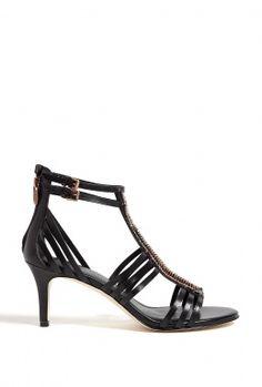 Black Leather Mid-Heel Kiki Gladiator Sandals by Sigerson Mo