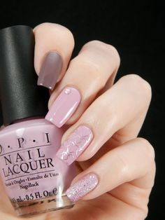 Valentine's Day ~ base polishes are OPI 'I Sao Paolo Over There' on index finger, 'Panda-monium Pink' on middle fingers and P2 Sandstyle Polish 'Adorable' on pinkie. Ring finger stamped with Pueen plate 41 using China Glaze 'Magical' ~ by Better Nail Day