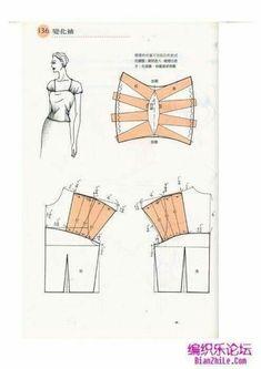 Crochet Vest Pattern, Bodice Pattern, Shrug Pattern, Collar Pattern, Top Pattern, Dress Sewing Patterns, Blouse Patterns, Clothing Patterns, Sewing Sleeves