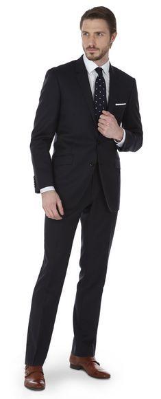 Harvey Navy Fine Stripe 2-Button Slim Fit Suit