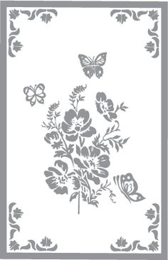 Glass etching stencil of Floral Design with Butterflies and Border. In category…