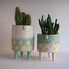 Image of Tripod planter pair// white + turquoise spots //medium