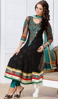 Elegant Black Embroidered Net Anarkali Suit Epitomize elegance wearing this elegant black embroidered net Anarkali suit. Beautified with karachi, lace, patch, resham and sequins work all synchronized well with the pattern and design of the attire. #EmbroideredAnarkaliSuit #BuyAnarkaliSuit