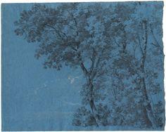 Johann Georg Von Dillis, Poplars against a Light Sky, chalk on blue paper, ca. 1820
