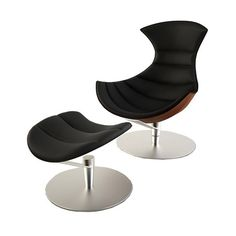 Leather & Steel Chair and Ottoman