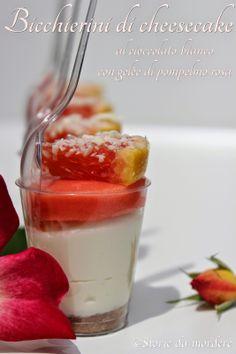 Bicchierini di cheesecake al cioccolato bianco con gelèe di pompelmo rosa #white #chocolate #grapefruit #pink