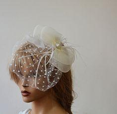 Wedding Hair Accessory Bridal Veil Bandeau Birdcage by ADbrdal
