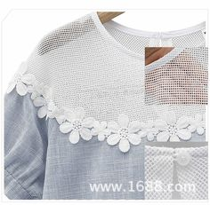 Femmes tops fashion 2014 été manches courtes évider chemisier dentelle Casual Floral femmes chemise
